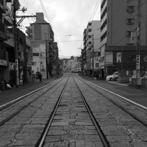 土橋電停付近 モノクロ写真